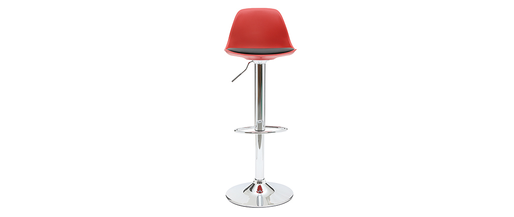 2 Design-Barhocker STEEVY Schwarz und Rot