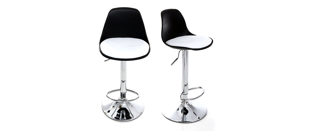 2 Design-Barhocker STEEVY Schwarz und Weiß