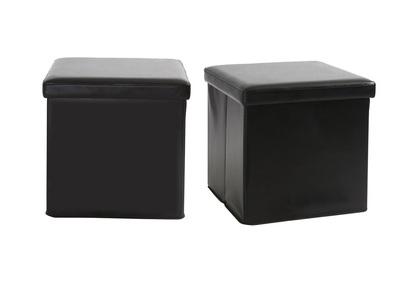 2 Design-Sitzpuffs mit Stauraum MILO Schwarz