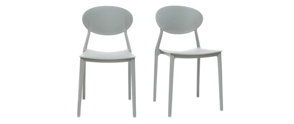 2 Design-Stühle Grau Polypropylen ANNA