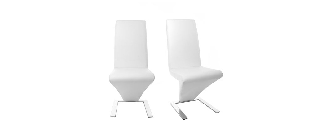 2 Design-Stühle NEW ANGIE Weiß