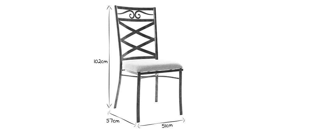 2 Küchenstühle im Barockstil Metall VENEZIA Schwarz