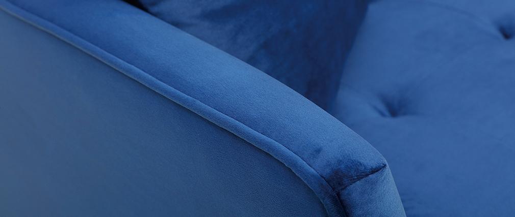 2-Sitzer-Sofa aus blauem Velours BEKA