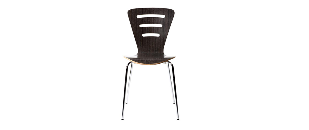 2 stapelbare Design-Stühle LENA Holz Schwarz