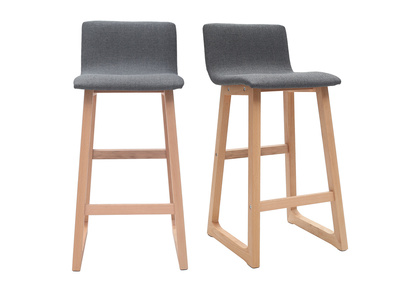 2er-Set Barhocker helles Holz und grauer Stoff OSAKA