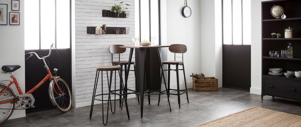 2er-Set Barhocker HOCKER aus Holz und schwarzem Metall Höhe 75 cm