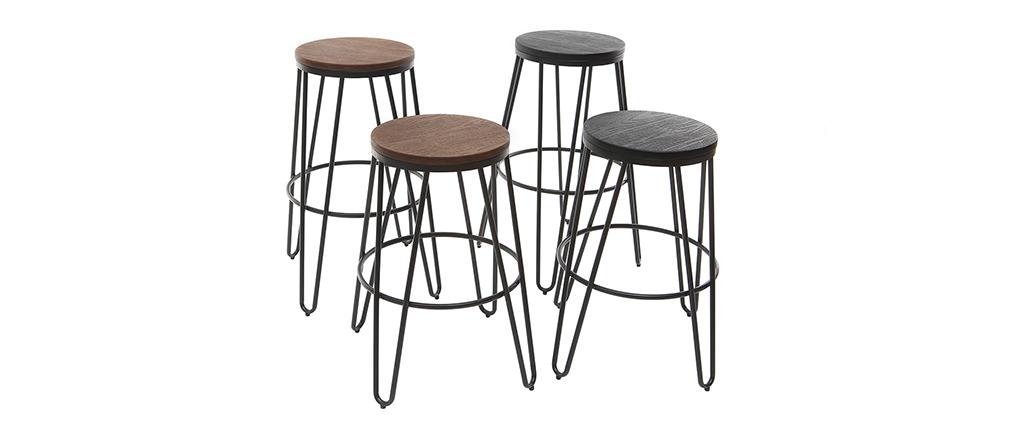 2er-Set Barhocker IGLA aus schwarzem Metall und Holz Höhe 75 cm