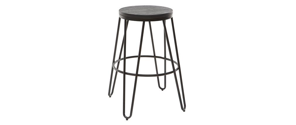 2er-Set Barhocker IGLA aus schwarzem Metall und schwarzem Holz Höhe 65 cm