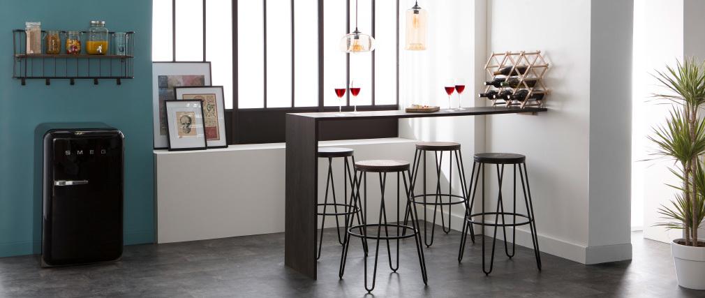 2er-Set Barhocker IGLA aus schwarzem Metall und schwarzem Holz Höhe 75 cm