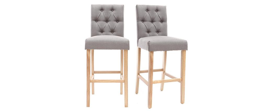 2er-Set Barhocker/-stühle, hellgrauer Stoff, Höhe 75 cm RIVOLI