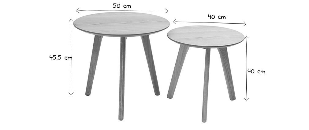 2er-Set Beistelltische rund Eiche ORKAD