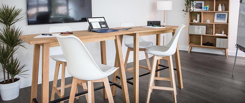 2er-Set Design-Barhocker Braun und Holz PAULINE