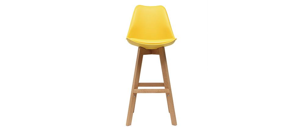 2er-Set Design-Barhocker Gelb und Holz 65 cm PAULINE
