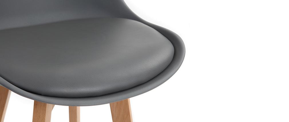 2er-Set Design-Barhocker Grau und Holz PAULINE