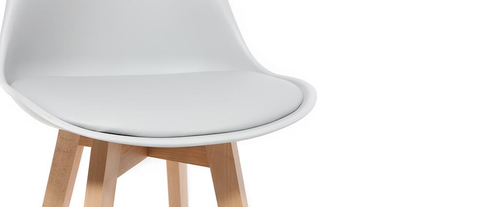 2er-Set Design-Barhocker Hellgrau und Holz 65 cm PAULINE