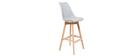 2er-Set Design-Barhocker Hellgrau und Holz PAULINE
