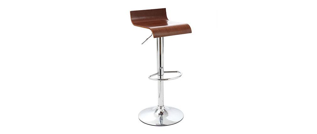 2er Set Design-Barhocker / Küchenhocker aus Holz SURF V2 Farbe Nussbaum