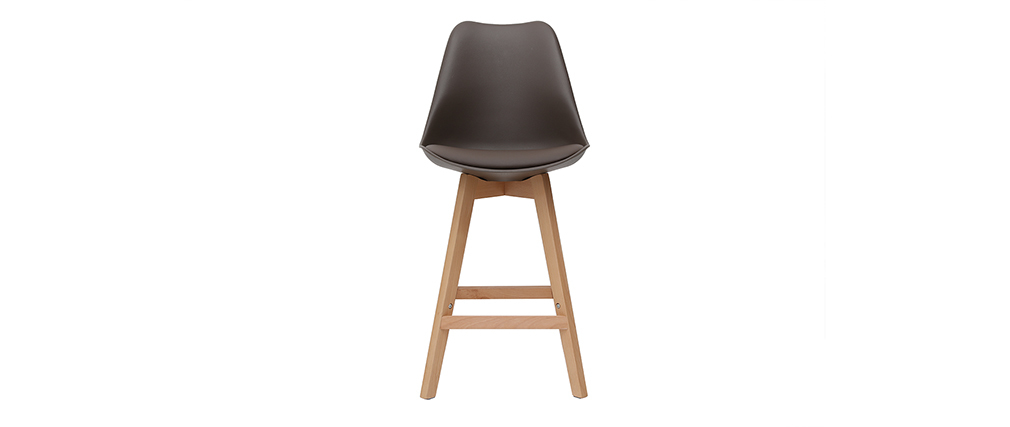 2er-Set Design-Barhocker Schokoladenbraun und Holz 65 cm PAULINE