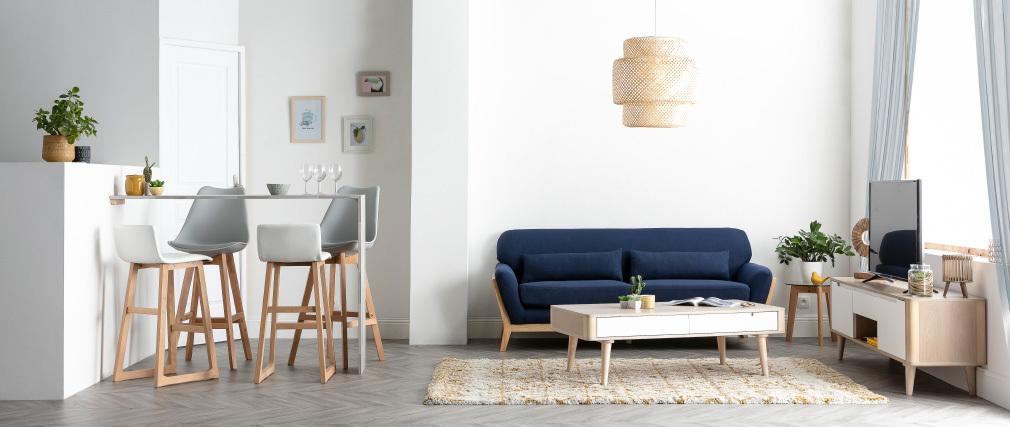 2er-Set Design-Barhocker Schwarz und Holz PAULINE