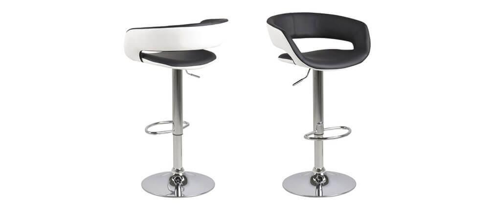 2er-Set Design-Barhocker Schwarz und Weiß Kunstleder GRAVIT V2