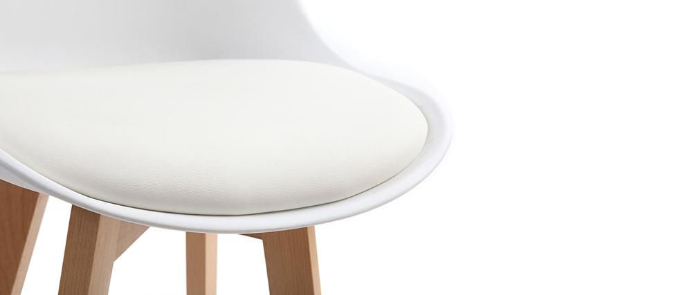 2er-Set Design-Barhocker Weiß und Holz PAULINE