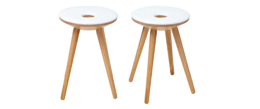 2er-Set Design-Beistellhocker Holz naturell und Weiß NORDECO