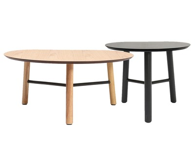 2er-Set Design-Couchtische 80 und 50 cm Holz JAPANSK