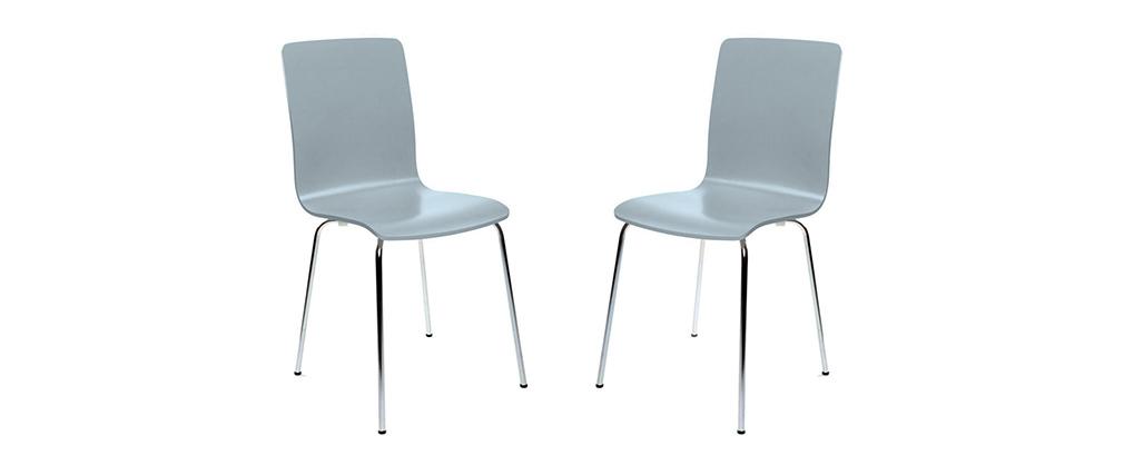 2er-Set Design-Küchenstühle Grau NELLY