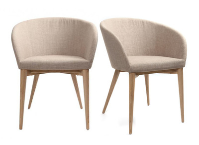 2er-Set Design-Sessel Beige DALIA