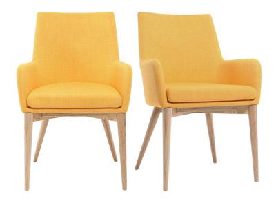 2er-Set Design-Sessel helles Holz und Stoff Gelb SHANA