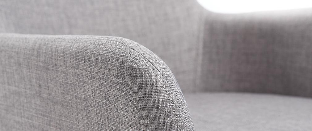 2er-Set Design-Sessel helles Holz und Stoff Grau SHANA