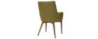 2er-Set Design-Sessel Holz und Grüner Stoff SHANA