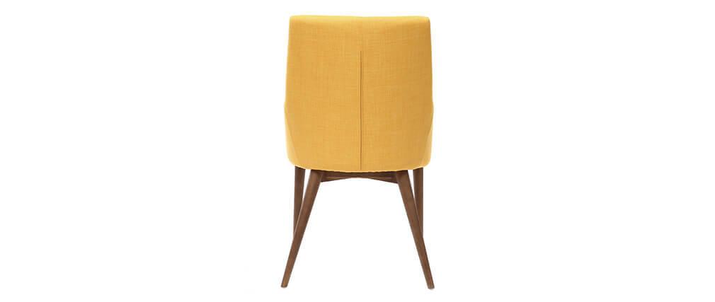 2er-Set Design-Sessel Holz und Stoff Gelb SHANA