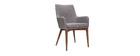 2er-Set Design-Sessel Holz und Stoff Hellgrau SHANA