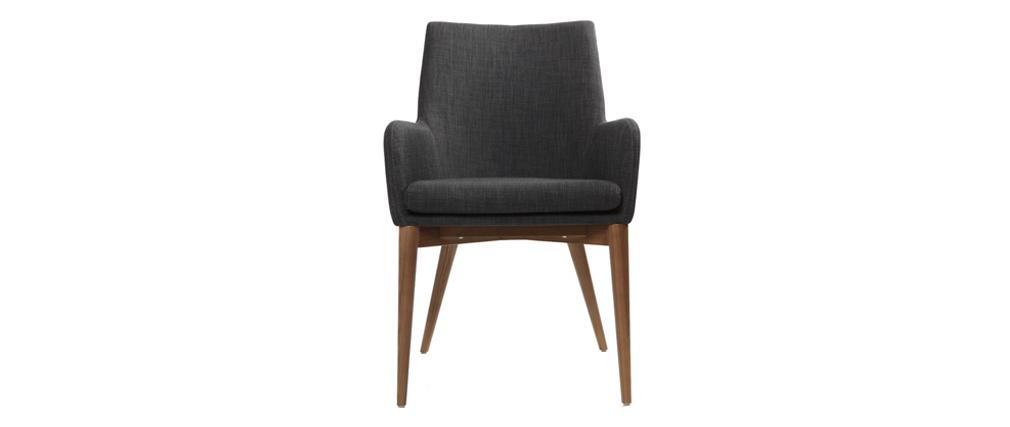 2er-Set Design-Sessel Polyester Grau Anthrazit SHANA