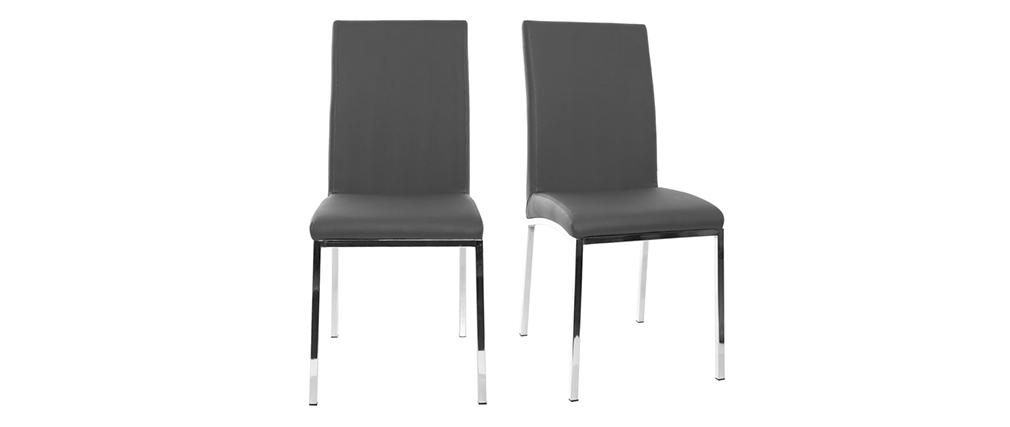 2er-Set Design-Stühle Polyurethan grau SIMEA