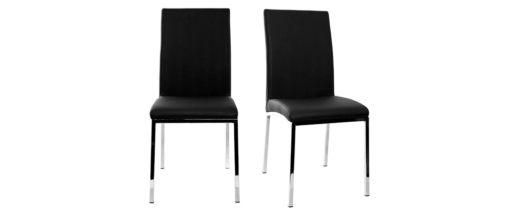 2er-Set Design-Stühle Polyurethan Schwarz SIMEA