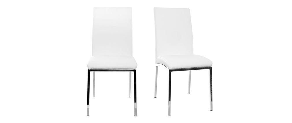 2er-Set Design-Stühle Polyurethan Weiß SIMEA