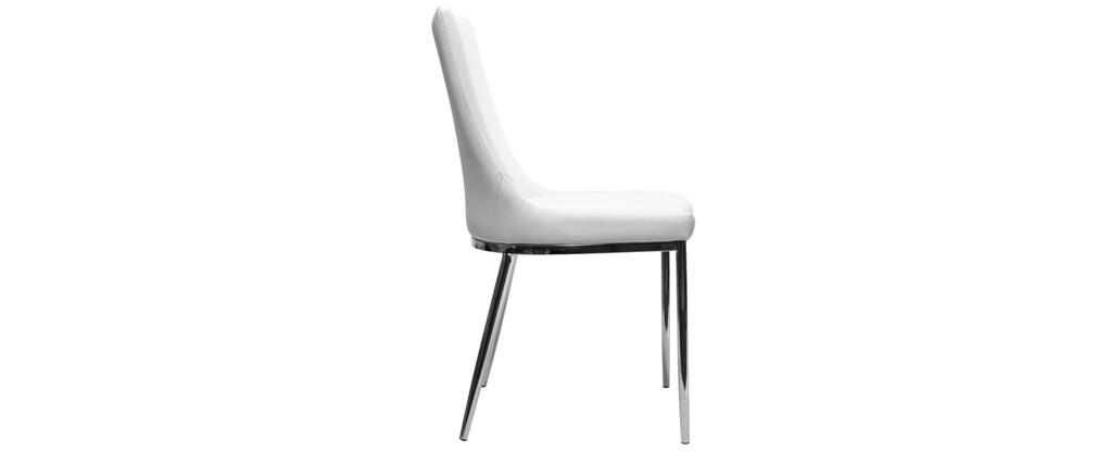 2er-Set Design-Stühle Polyurethan Weiß und Chromstahl IRA