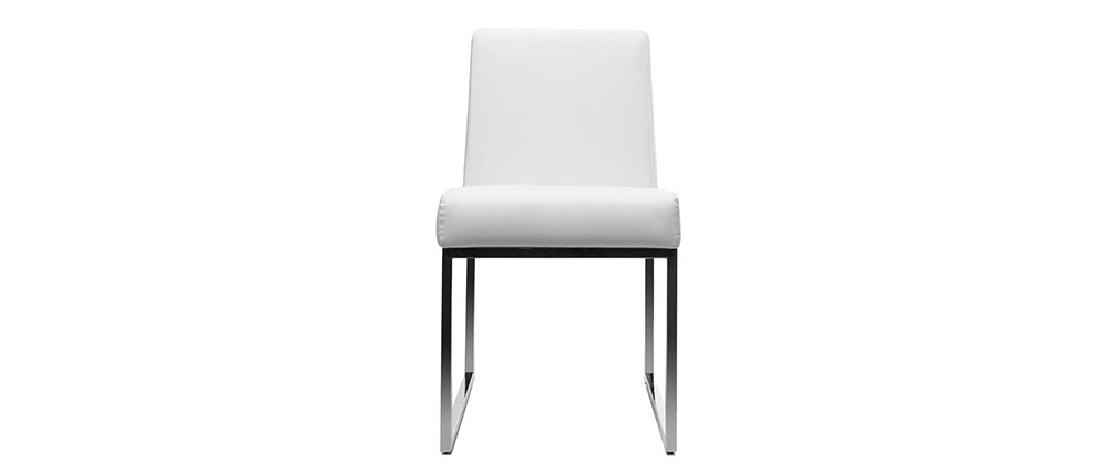 2er-Set Design-Stühle Polyurethan Weiß und Chromstahl JUNIA