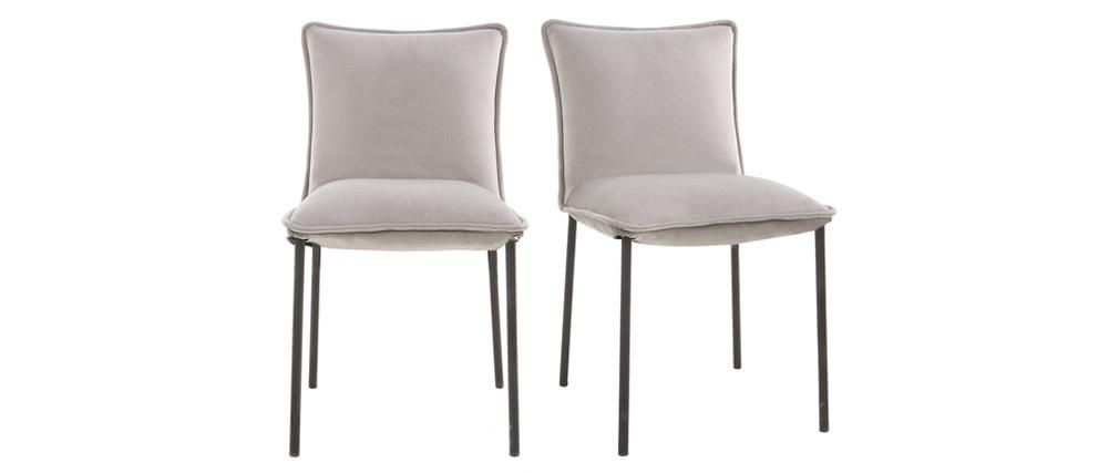 2er-Set Design-Stühle Samt Grau SOLACE