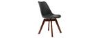 2er-Set Design-Stühle, Schwarz und Nussbaum PAULINE
