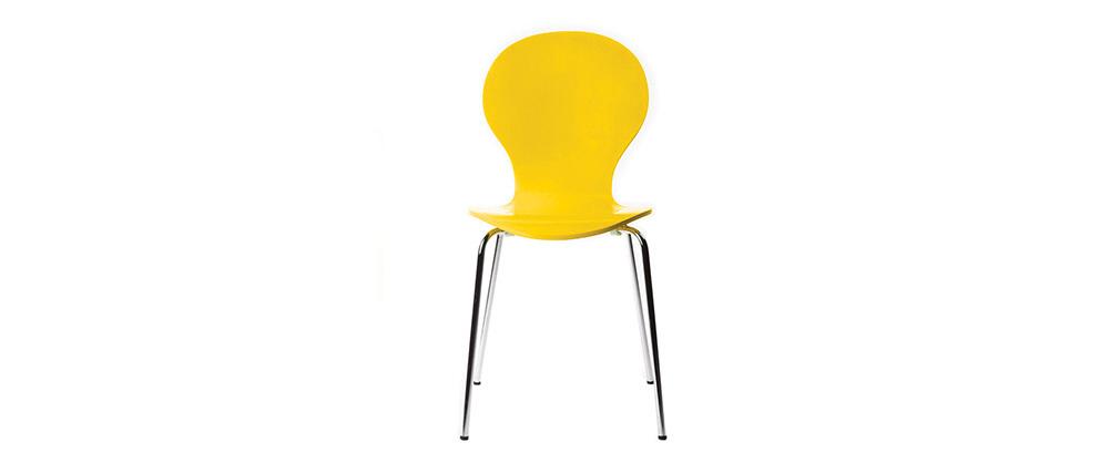 2er-Set Design-Stühle stapelbar Gelb NEW ABIGAIL