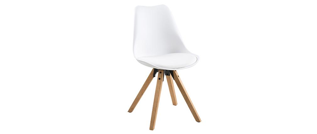 2er-Set Design-Stühle Weiß mit hellen Holzbeinen NADJA