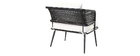 2er-Set Gartensessel MONACO aus schwarzem Kunststoffgeflecht im Rattanstil