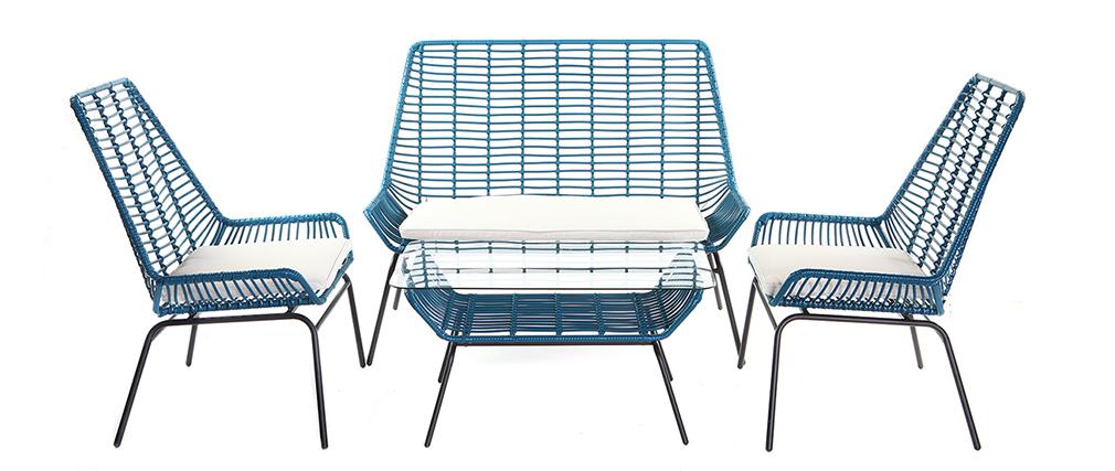 2er-Set Gartensessel TANGO aus blaugrünem Kunststoffgeflecht
