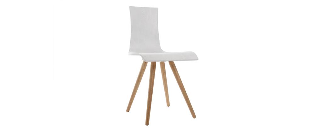 2er-Set Holzstühle, Sitze Weiß - BALTIK
