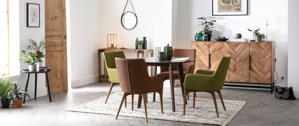 2er Set Sessel Vintage  PU Braun und Holz SHANA