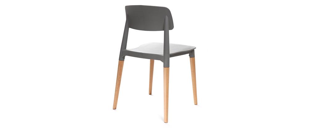 2er-Set skandinavische Design-Stühle Grau GILDA