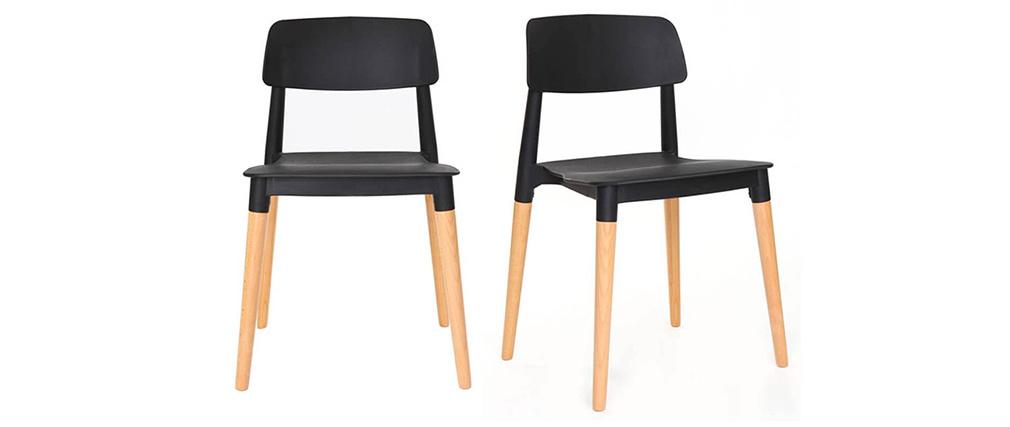 2er-Set skandinavische Design-Stühle Schwarz GILDA